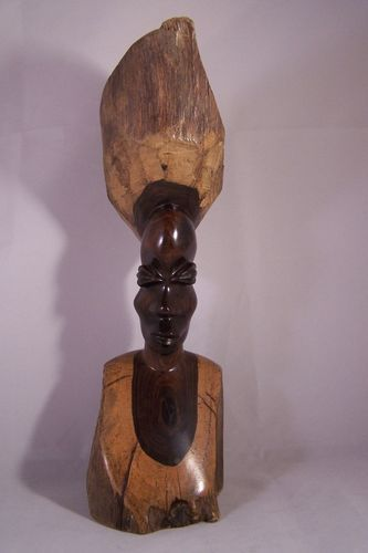 Vintage African Tribal Hand Carved Ebony Wood Bust Woman