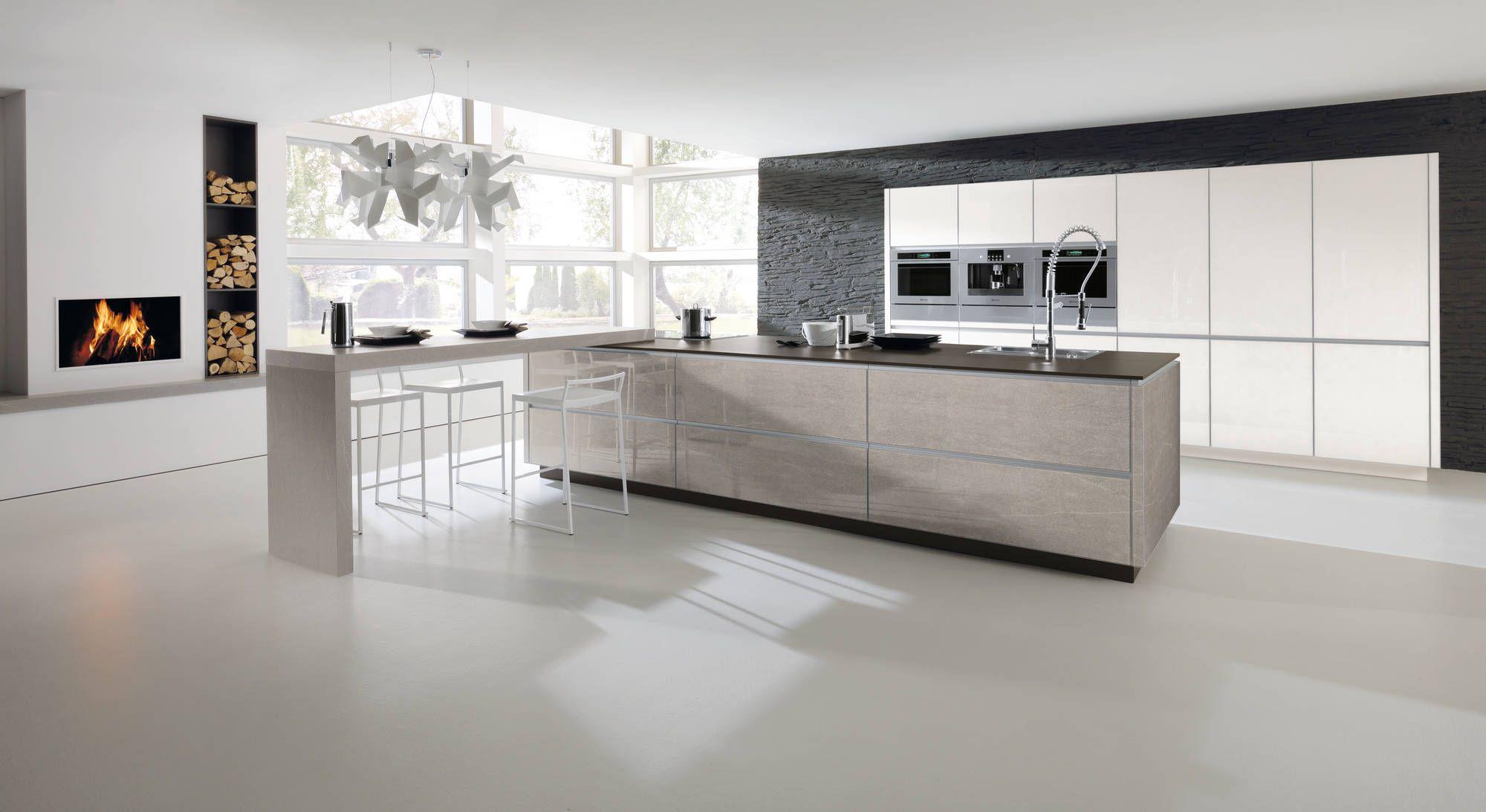 Alno Fronts In Stone Glass Sleek Kitchen Stylish Kitchen White Modern Kitchen