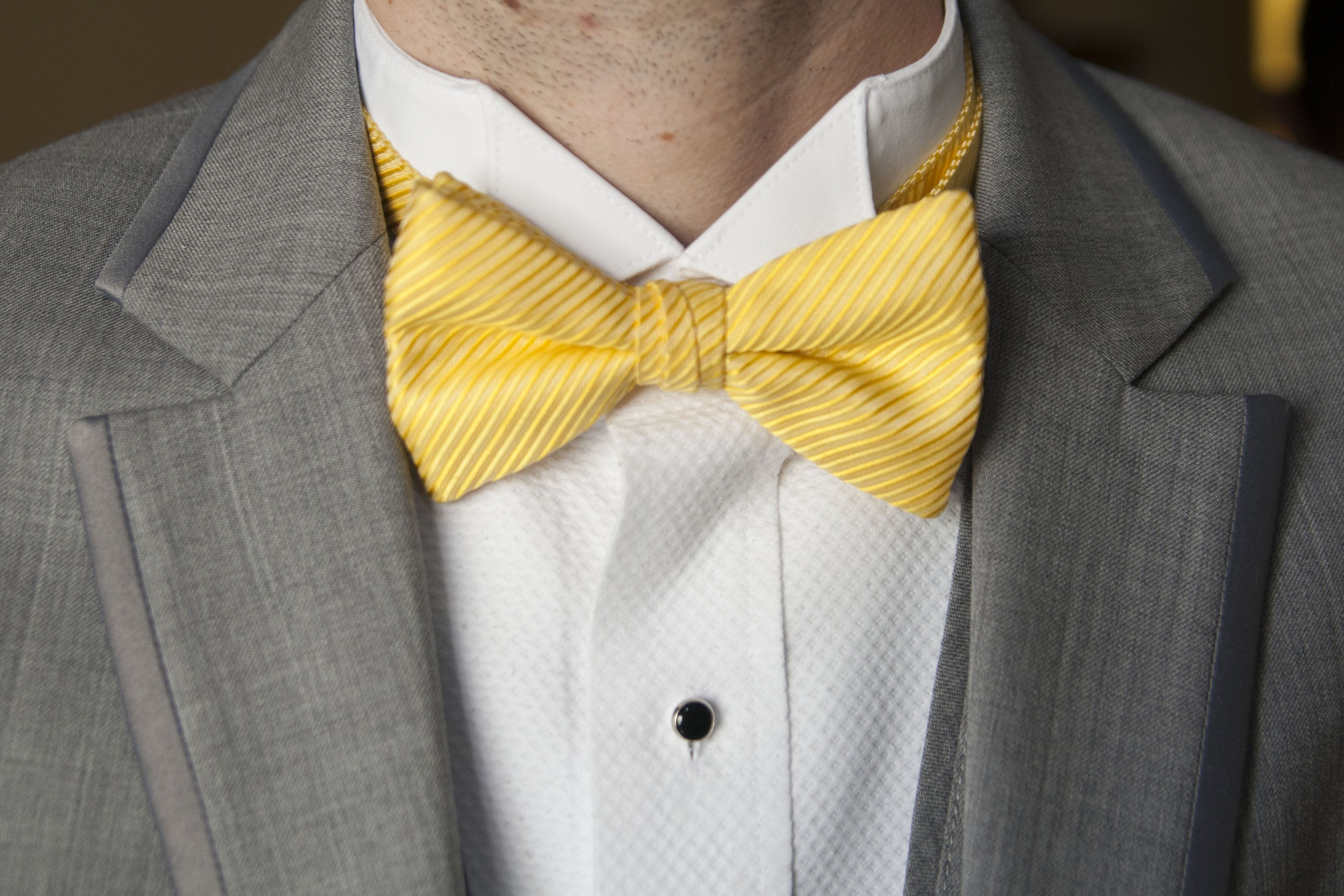 9bfdc0882ad6 groomsmen had grey suits and yellow bow ties | We Did... in 2019 ...