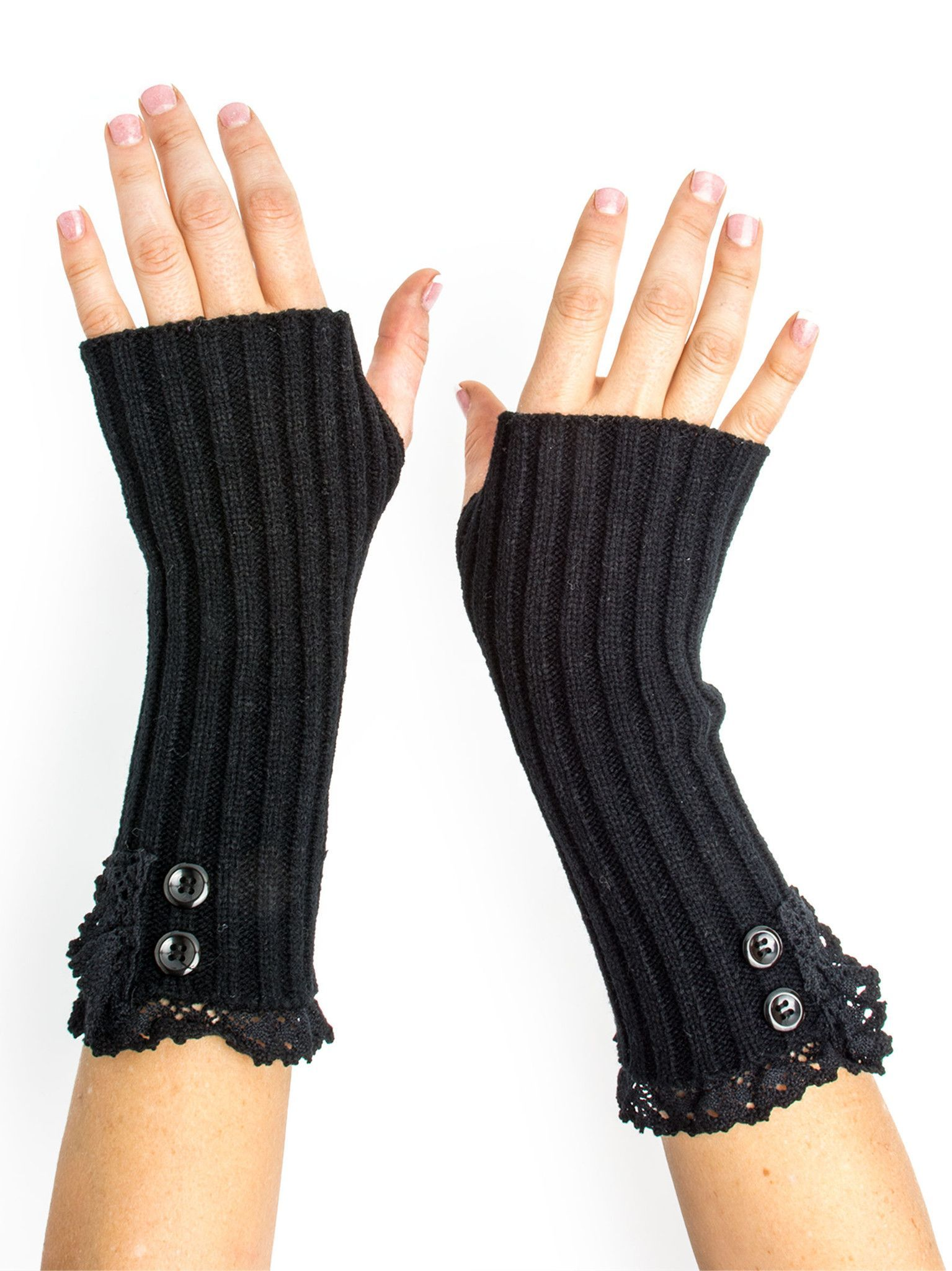 705e19b46 Kasha Rib Knit Boho Mori Style Armwarmers / Fingerless Gloves with Crochet  Lace