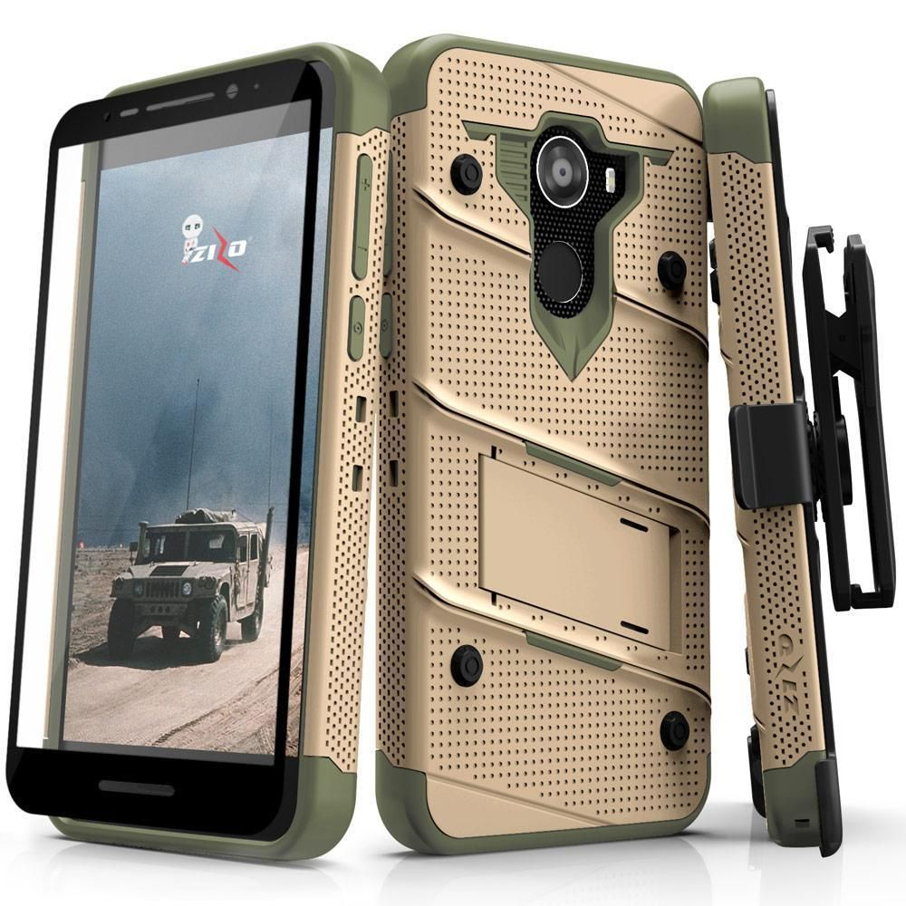 ZIZO Bolt Series Motorola Moto e4 Plus Case Military Grade Drop Tested with Tempered Glass Screen Protector Holster Blue Black