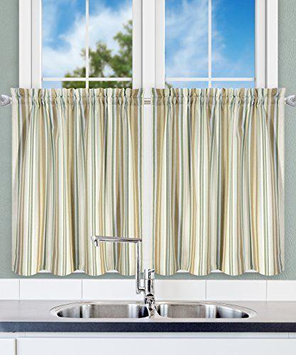 Ellis Curtain Mason Multi Colored Stripe Tailored Tier Curtains 56 X 24 Spa