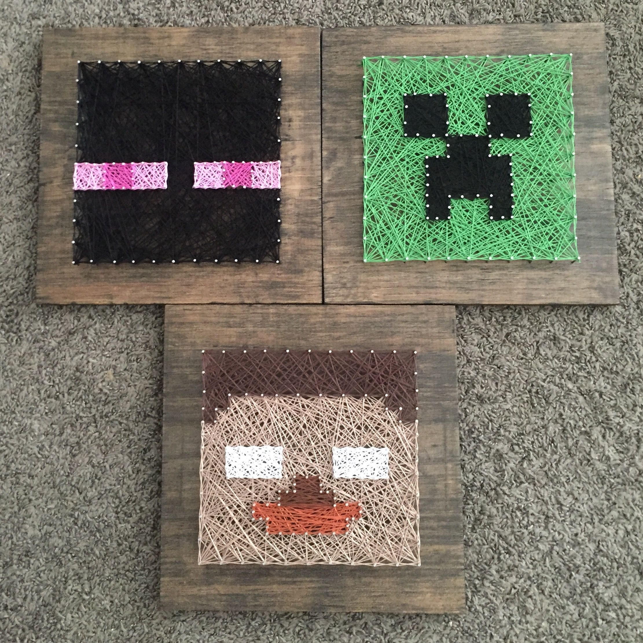 Minecraft string art set of 3 | string art | Pinterest | Dormitorio ...