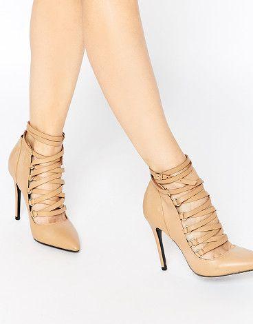 Buy Women Shoes / Aldo Zelicia Tan Suede Ghillie Tie Heeled Shoes