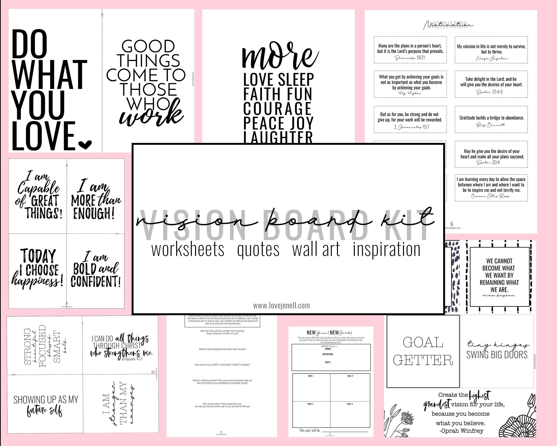 Vision Board Kit Printable Vision Board Goal Setting