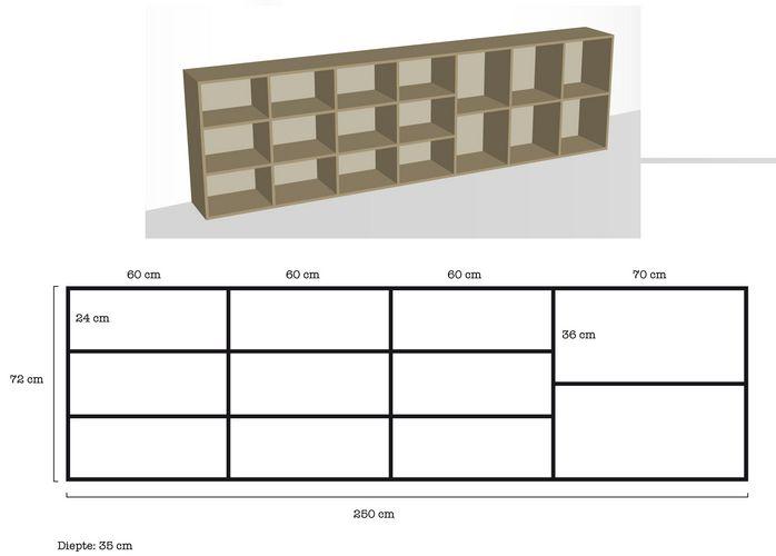 Het maken van een boekenkast volgens bijgeleverde tekening. (2.50 m ...