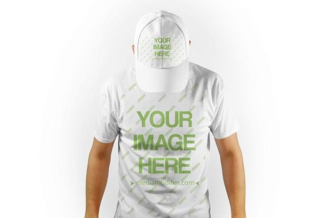 Download Mockup template with a young white man wearing a blank t ...