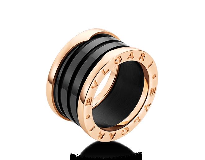 Anel B.zero1 de 4 aros em ouro rosa 18K com cerâmica preta.   Ring a8a0dfe8a4