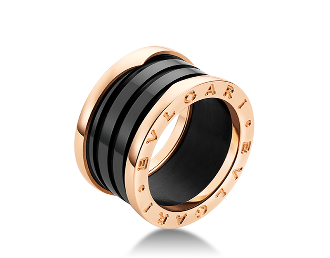 bulgari b zero 1 rose gold and black ceramic 4 band ring features brand bulgari condition never worn metal rose gold model no