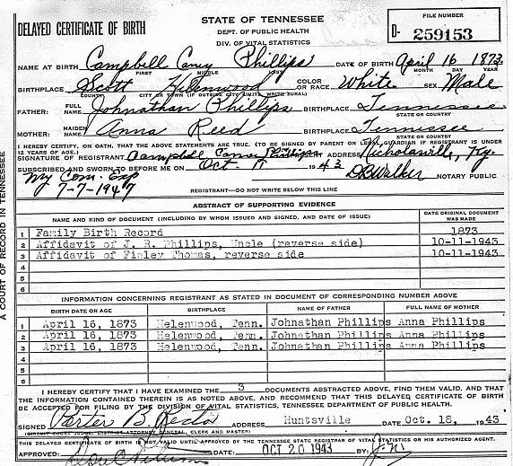 tennessee tn county campbell state birth scott lafollette genealogy phillips certificate tree delayed record records names