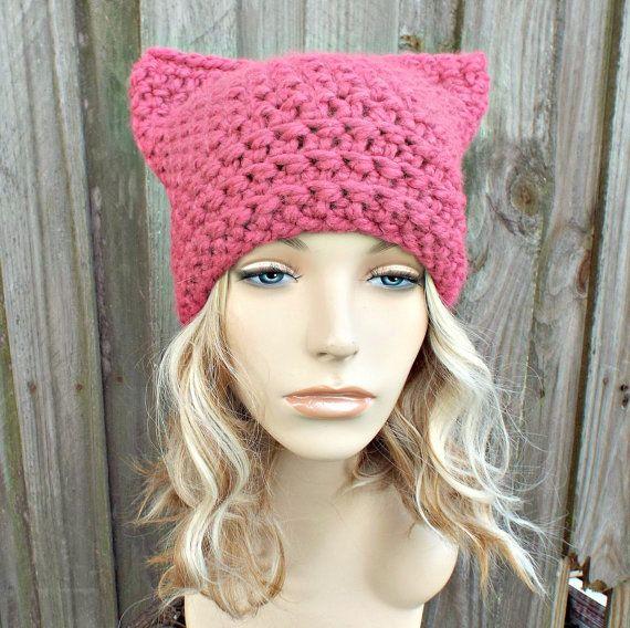 Pink Cat Hat - Thermal Crochet Womens Winter Beanie in Raspberry ...