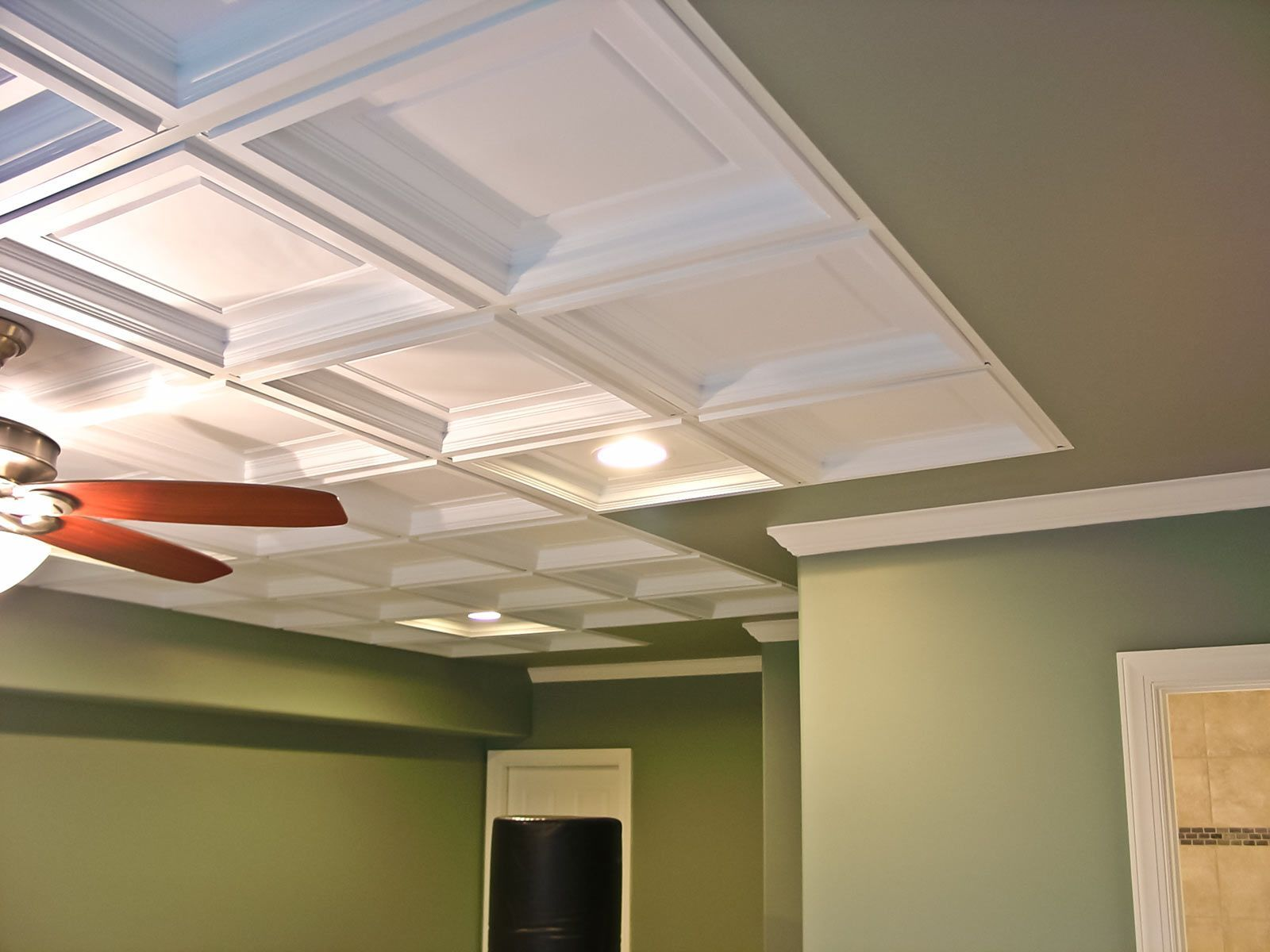 The Beautiful Madison Vinyl Ceiling Tile Is Installed In This Drop Grid System Because Of Its Coffer Sty Ceiling Tiles Basement Basement Ceiling Ceiling Tiles
