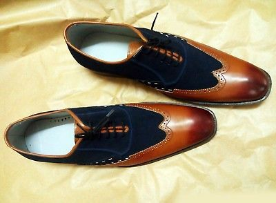 Handmade Oxford Leather Shoes Two Tone Upper Dress Formal Shoes For Men