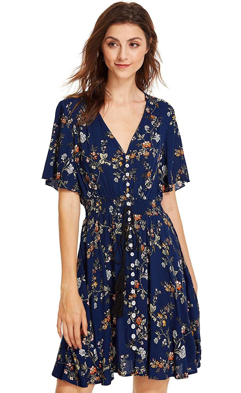 58bf2919c71 Milumia Women s Boho Button Up Split Floral Print Flowy Party Dress ...