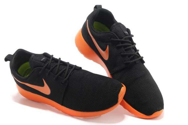 Nike Roshe Run Mesh Mens Black Fluorescent Orange Shoes