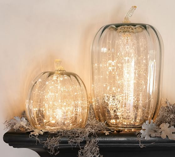 Recycled Glass Pumpkin Candle Cloches Potterybarn Glass