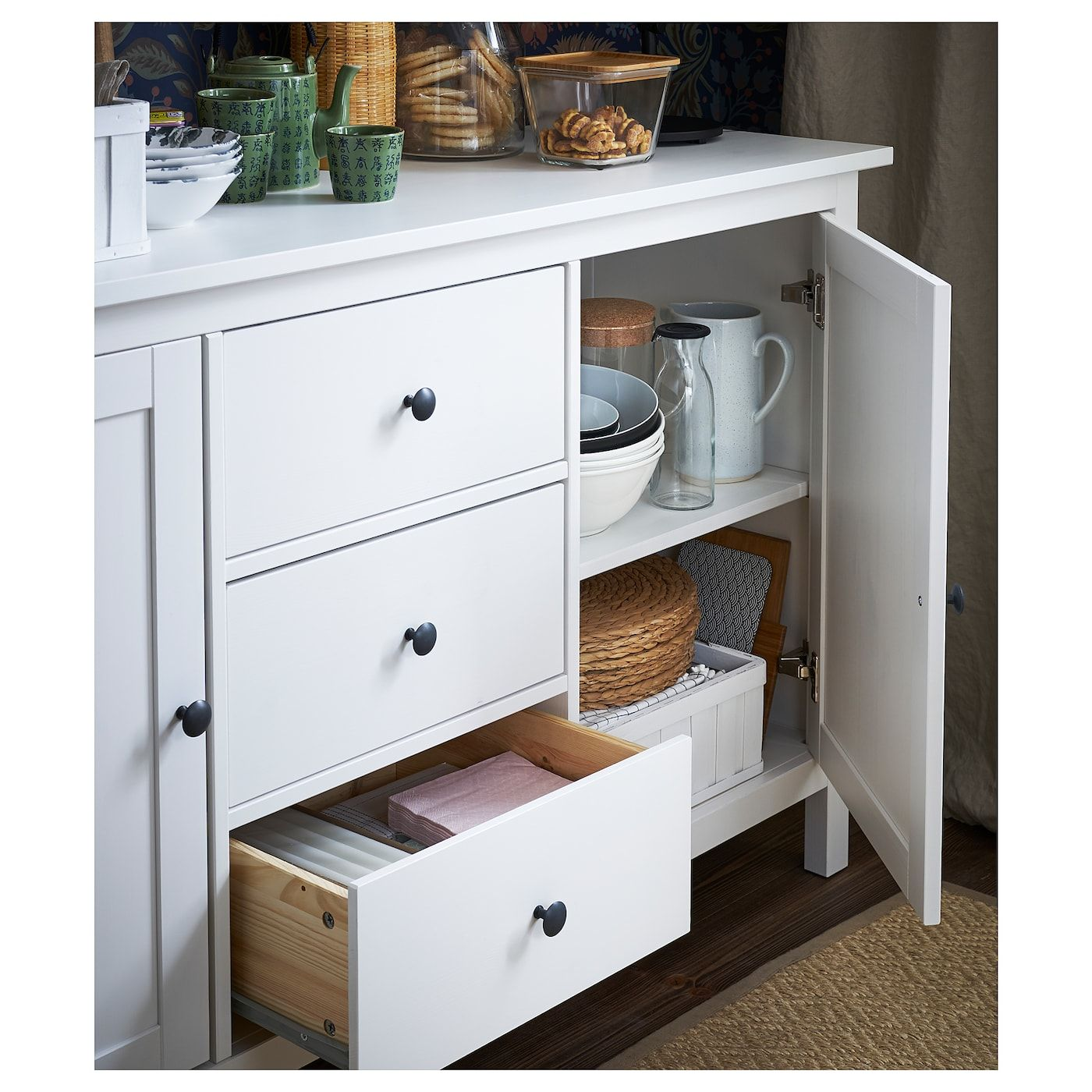 "HEMNES Sideboard, white stain, 61 3/4x34 5/8"" IKEA in"