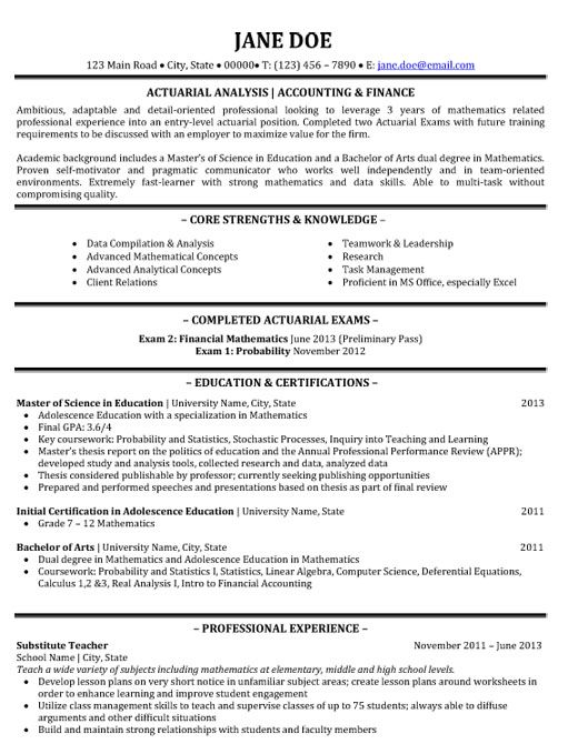 actuary resume template
