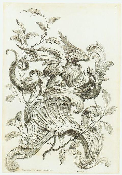 Rococo design for a wood carving gabriel huquier