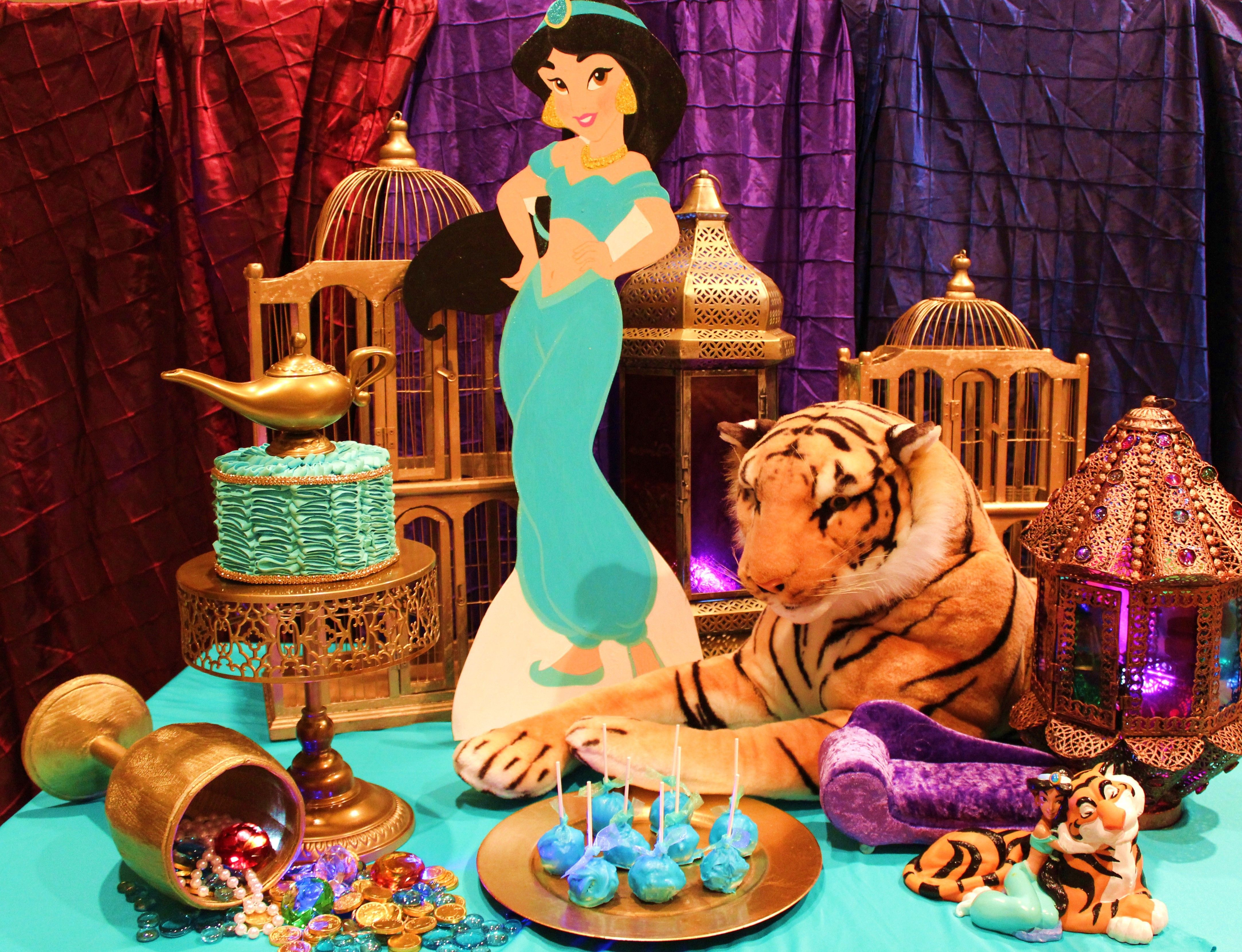 Jasmine Birthday Cake Table Disney Aladdin
