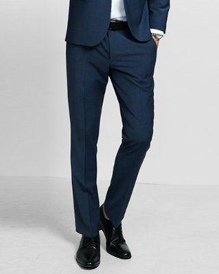 Skinny Innovator Wool Blend Blue Suit Pant From Express Pantalones De Vestir Hombre Pantalones De Vestir Pantalones