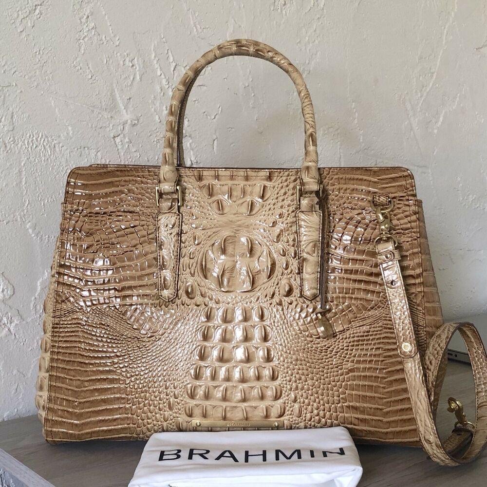 NWT Brahmin Noelle Melbourne Hobo Travertine Leather Shoulder Bag