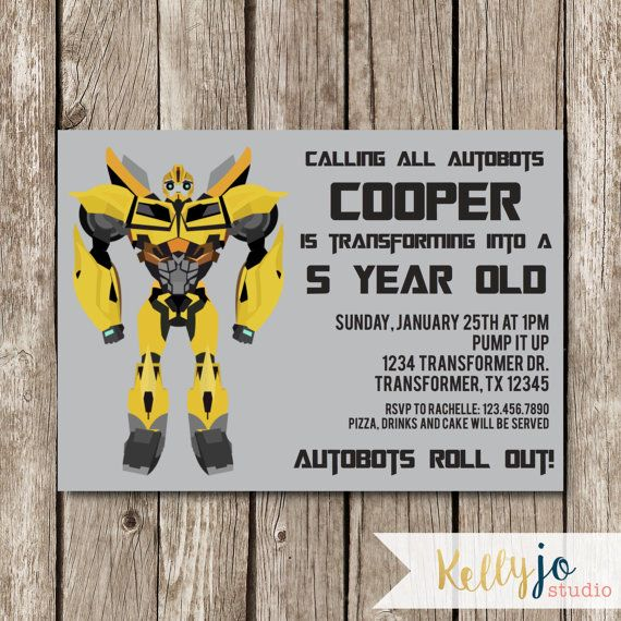 Bumblebee Transformers Birthday Invitation by KellyJoStudio Party