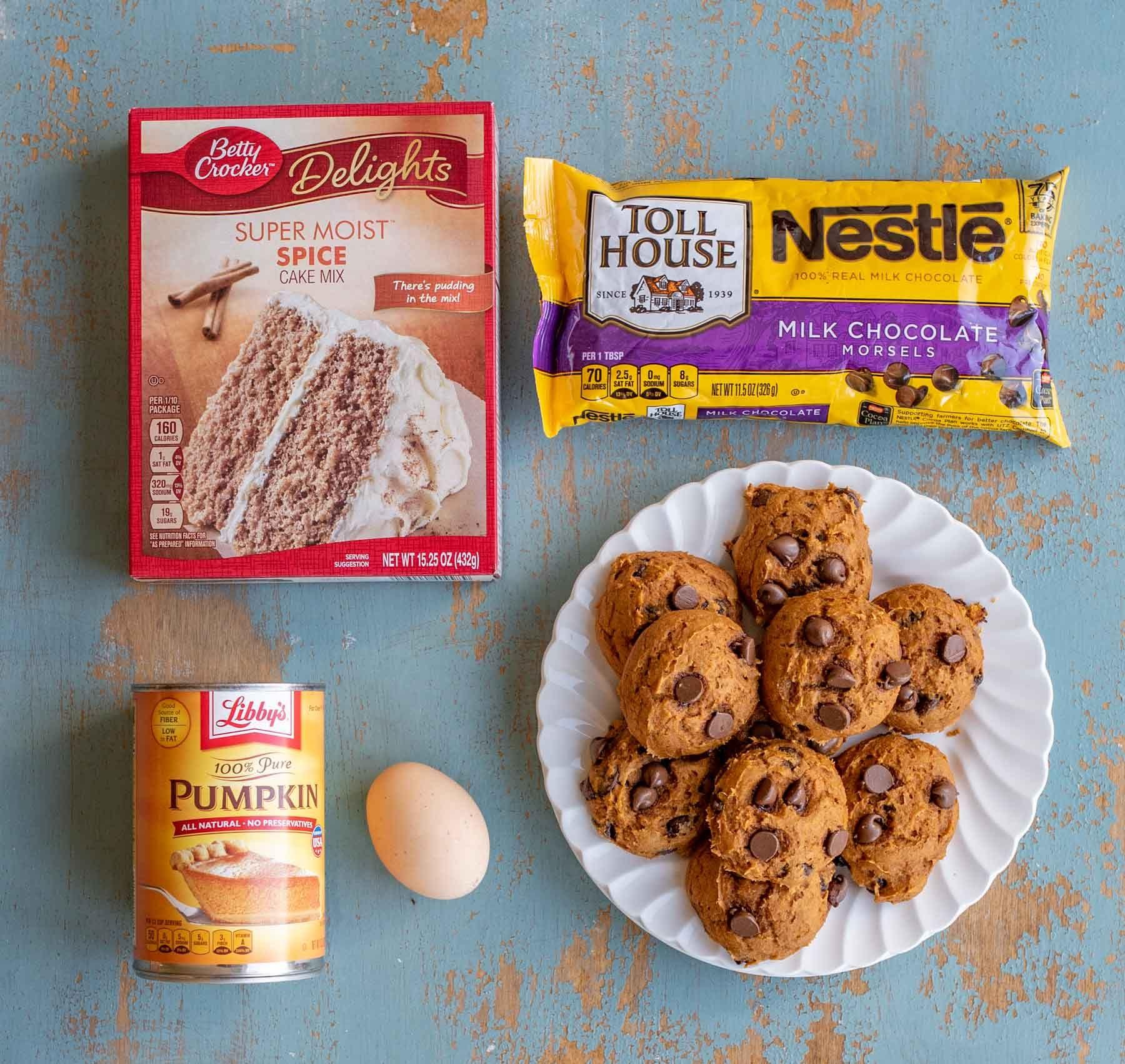 Cake Mix Pumpkin Chocolate Chip Cookies Recipe Pumpkin