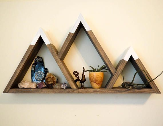 Photo of Mountain Shelf with Painted Caps Modern Wooden Shelving Unit Easy Mount Wall Art…