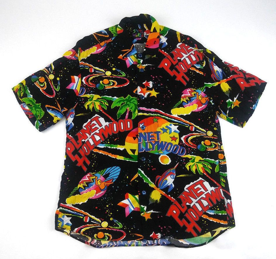 3e2ff17330e98 Vintage PLANET HOLLYWOOD Jams World Men s Shirt Hawaiian Size M FREE  SHIPPING  PlanetHollywood  ButtonFront