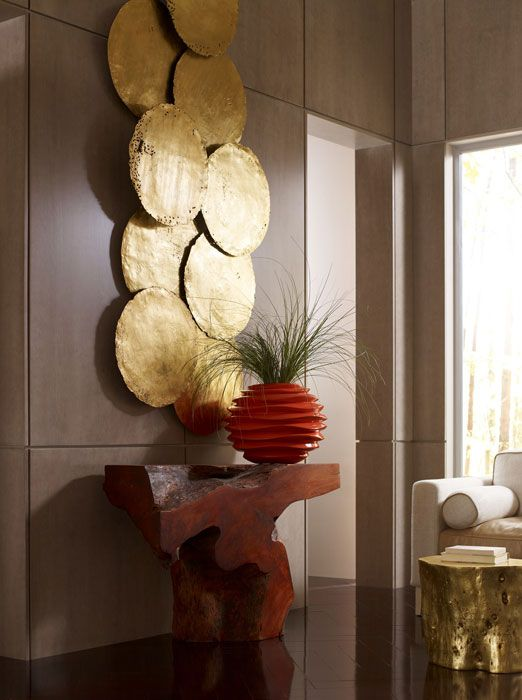 Phillips Collection Galvanized Circle Wall Tiles Gold Leaf Salon Decor Wall Decor Wall
