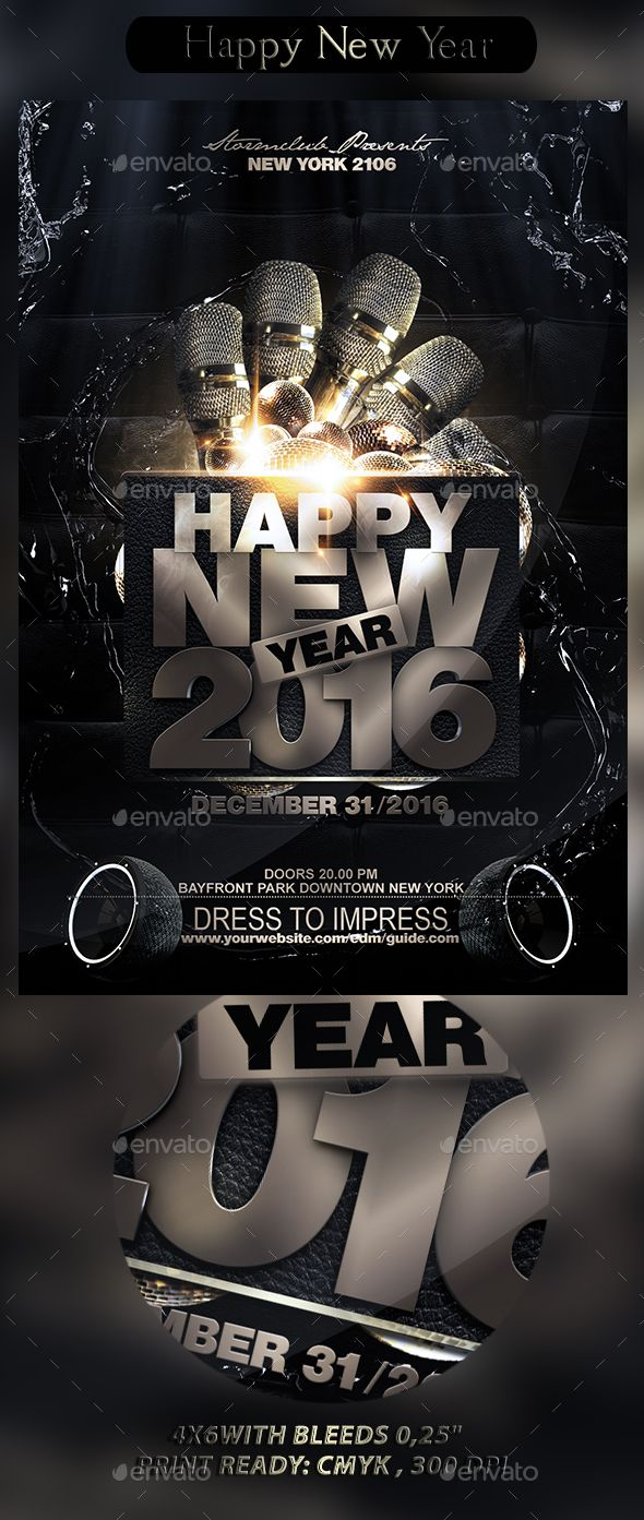 Happy New Year  Flyer Template Template And Promotion