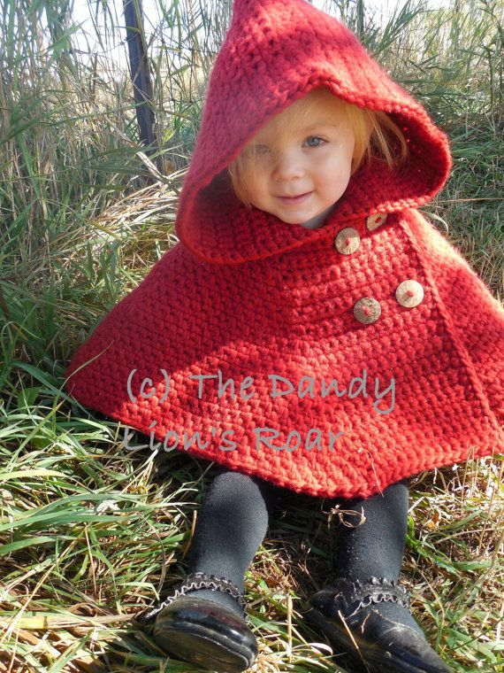 INSTANT PDF DOWNLOAD Crochet Pattern for the Red Riding Hood Cape ...