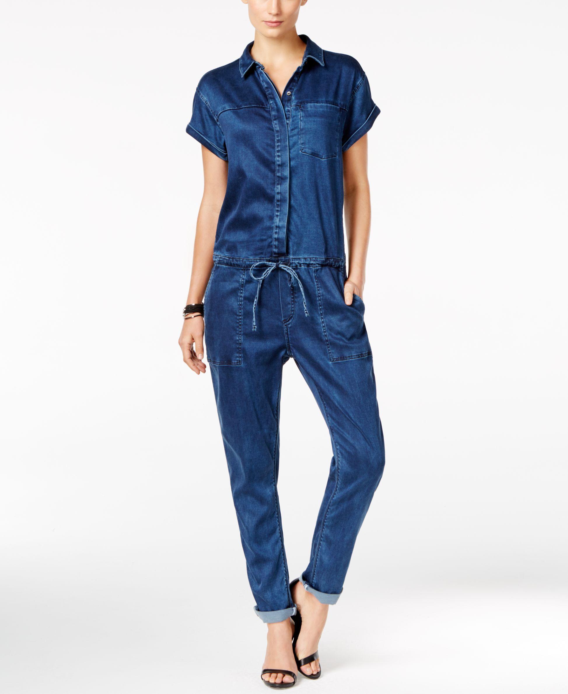 5632b0910efd Calvin Klein Jeans Denim Straight-Leg Jumpsuit