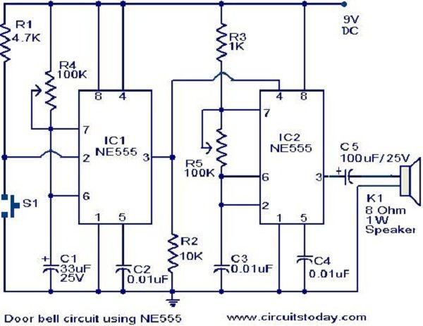 door alarm using 555 timer door designs plans door design plans rh pinterest com Breadboard 555 Timer Circuits 555 Timer Circuits Projects