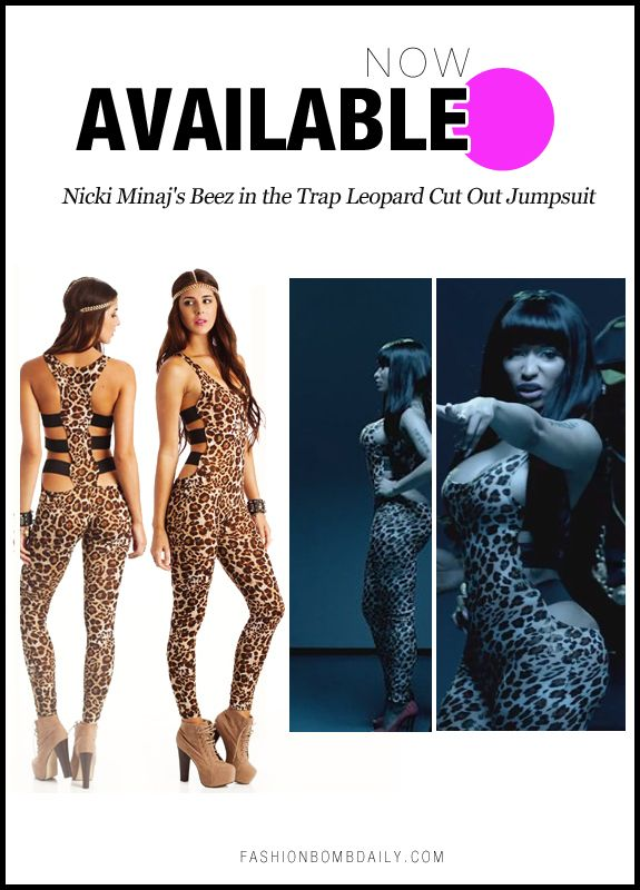 e33d9b33673b Now Available  Nicki Minaj s Beez in the Trap Video Go Jane Leopard Strappy  Back Jumpsuit