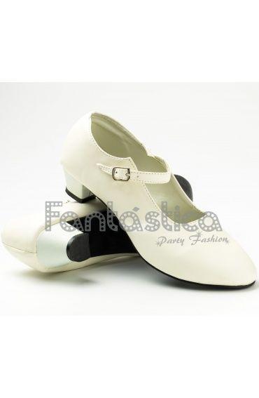 7c27085aa23 Zapatos para Flamenco Color Blanco - Tallas para Niña y Mujer ...