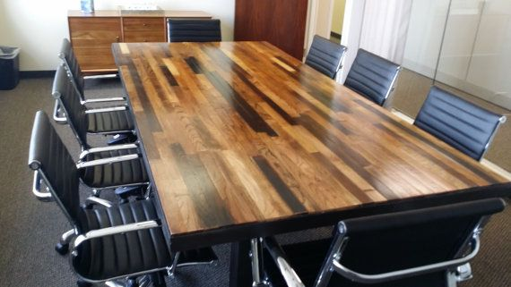 Reclaimed Wood Conference Table Solid Wood by AmericanOutpostShop. Custom Handcrafted Furnishings 100  Made in U S A  American