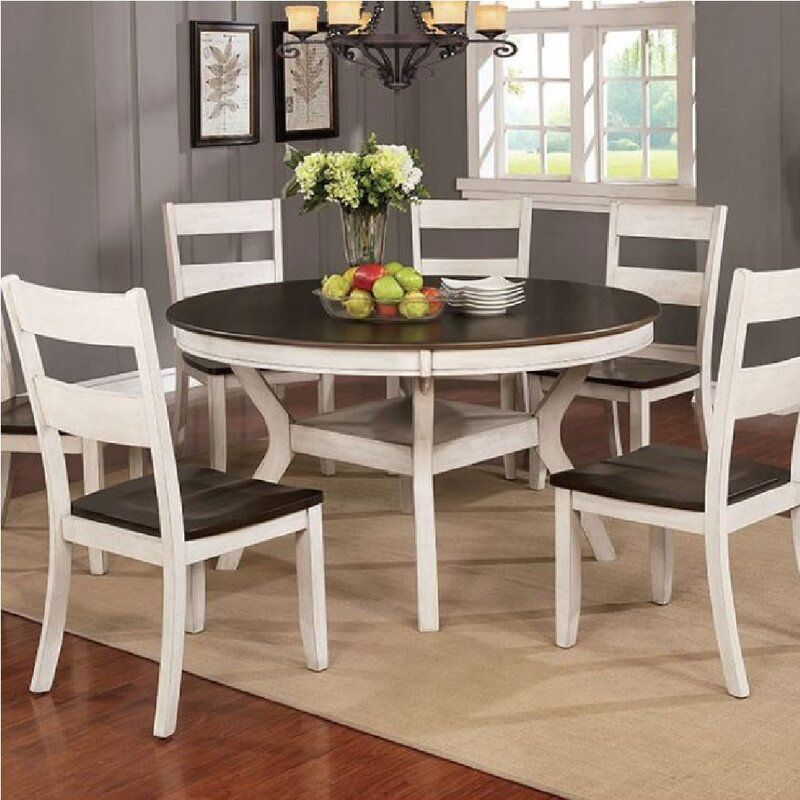Elica 7 Piece Dining Set Round Dining Table Sets Solid Wood Dining Chairs Round Wood Dining Table