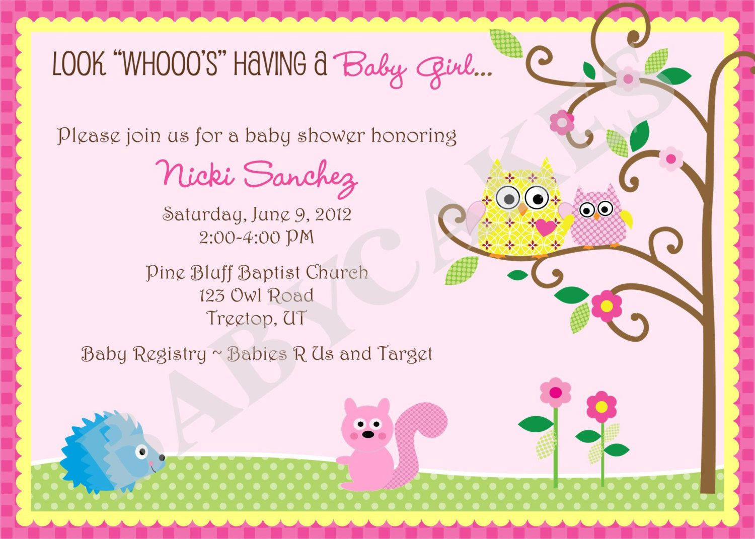Owl Baby Shower Invitation Girl Owl Happi Tree - DIY Print Your Own ...
