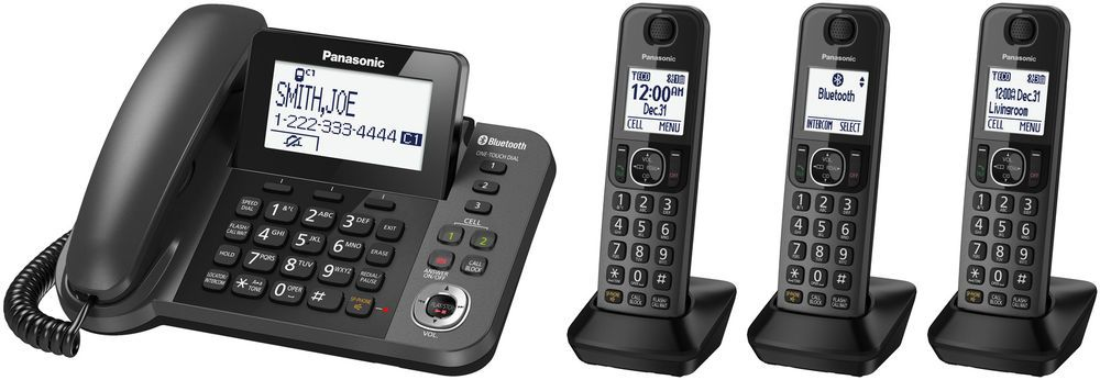 Home Office Phone System Corded Base Xl Lcd Three 3 Cordless Handsets Kxtgf383m