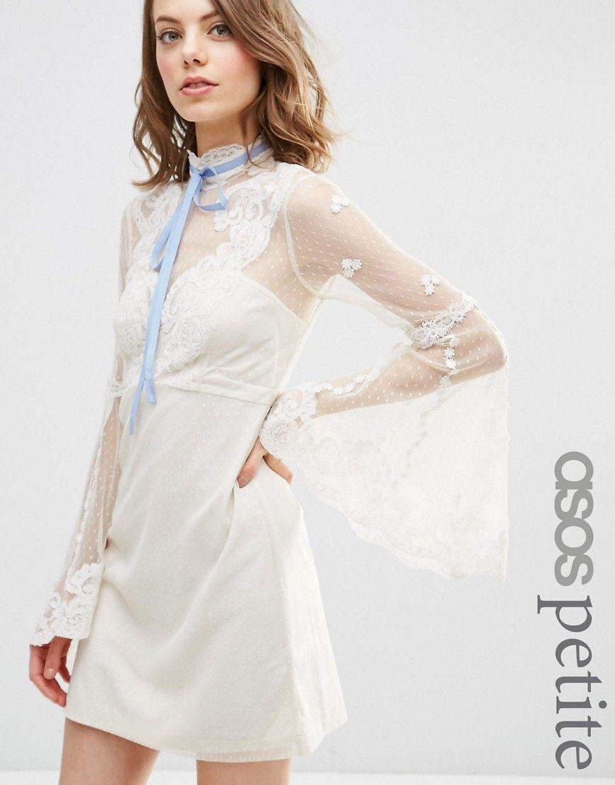 1960s Style Wedding Dresses Asos Petite High Neck Edwardian Mini Babydoll Dress White 65 0 Bell Sleeve Mini Dresses Maxi Dress Prom Vintage Inspired Dresses
