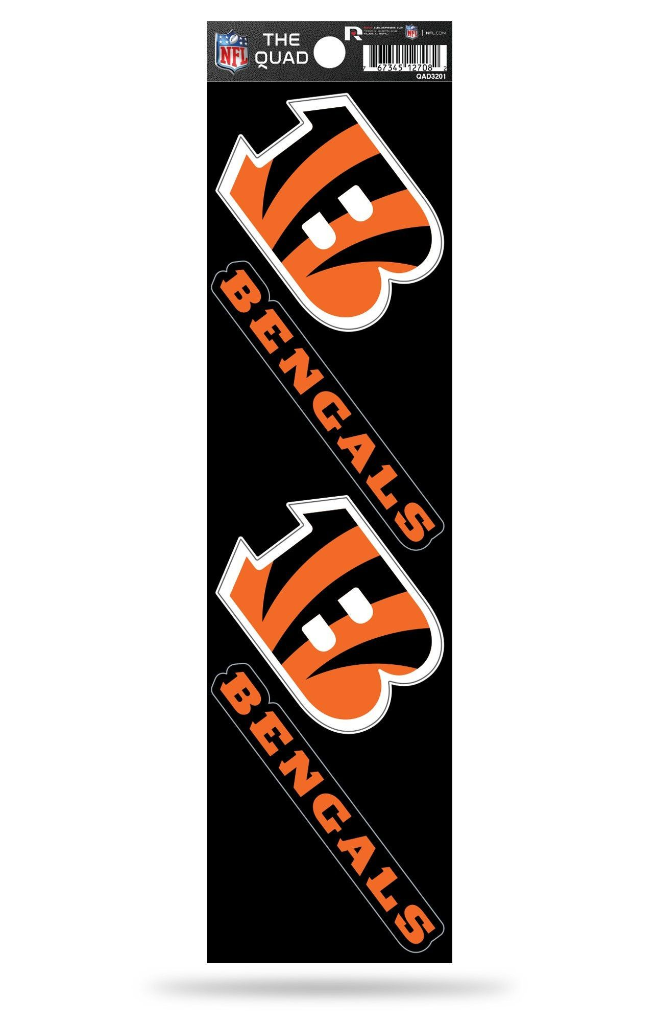 73c898aa Cincinnati Bengals Set of 4 Decals Stickers The Quad by Rico 2x2 ...