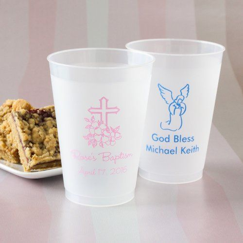 Personalized Frosted Plastic Party Cups for Baptism or Christening Tableware and Favors (($) & Personalized Frosted Plastic Party Cups