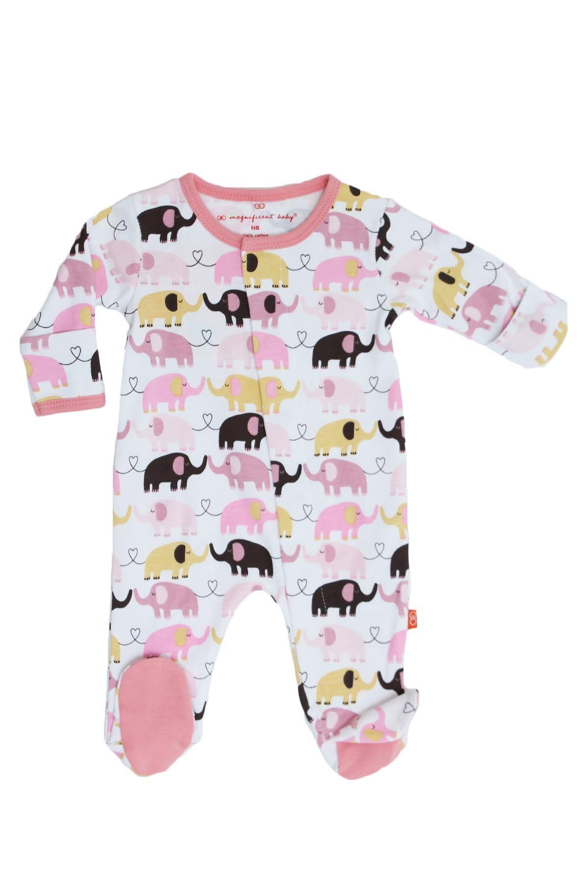 0b3cf9447 Pink Elephant Footed Romper
