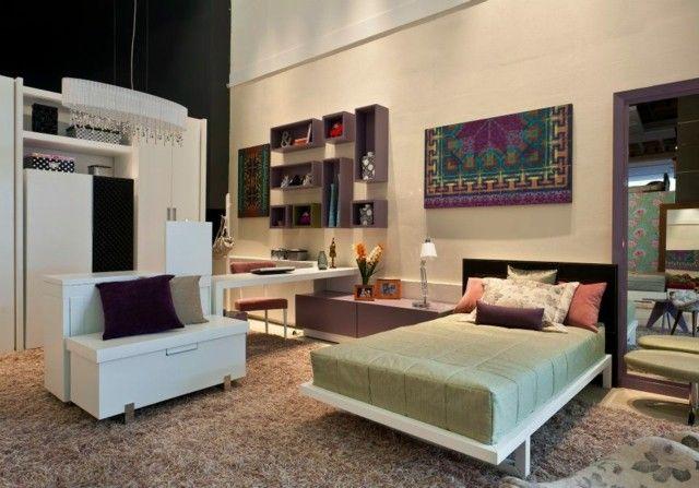 Habitaciones juveniles chica moderna azul cama grande for Habitaciones juveniles con cama grande