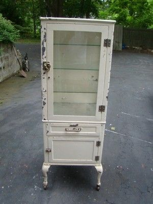 Vintage Metal Dental Cabinet shows nice wear in keeping with the ...
