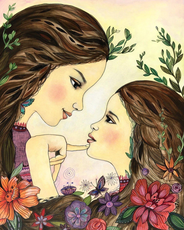 Днем рождения, картинки дочка с мамой рисованные