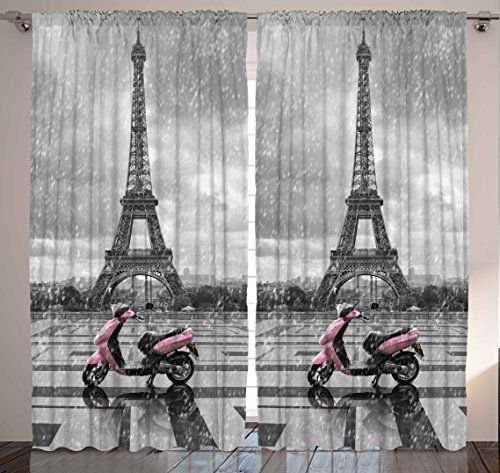 Rainy paris scene eiffel tower vespa bedroom living room kids youth room dining room - Eiffel tower decor for bedroom ...