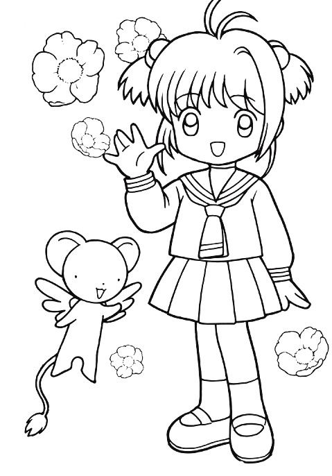 Sakura in her school uniform and kereberus coloring page print out and color this sakura in her school uniform and kereberus coloring page and decorate